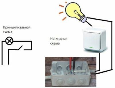 как провести лампочку с выключателем