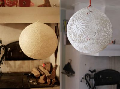 как сделать плафон из ниток и шарика