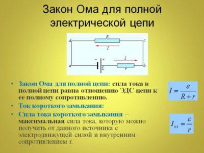 как формулируется закон ома для участка цепи