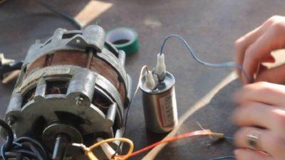 как подключить электродвигатель через конденсатор